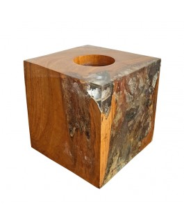 Cube Teak and Transparent Resin Candle Holder