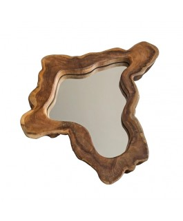 Small Teak Wave Mirror Natural