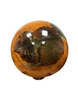 Teak Wood Ball and Green Resin on Base