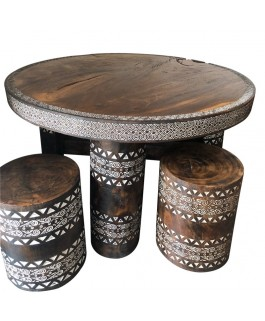 Round Table Set in Black Suar Massif and Pouffes