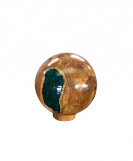 Resin Ball Teak Wood Natural and Green Small Size