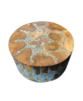 Round Coffee Table in Teak Wood Pieces and Blue Resin