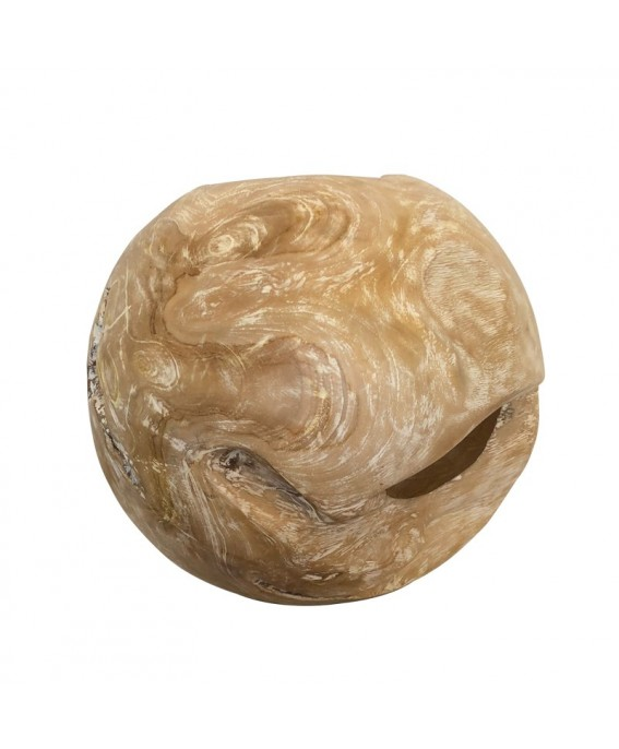 Hollow Design Ball in Teak Wood Bleached