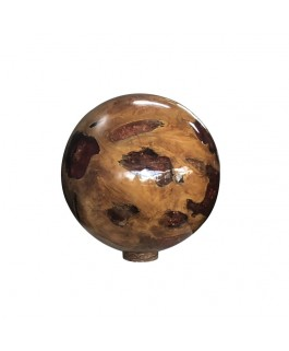 Resin Ball in Teak Wood and Red Resin