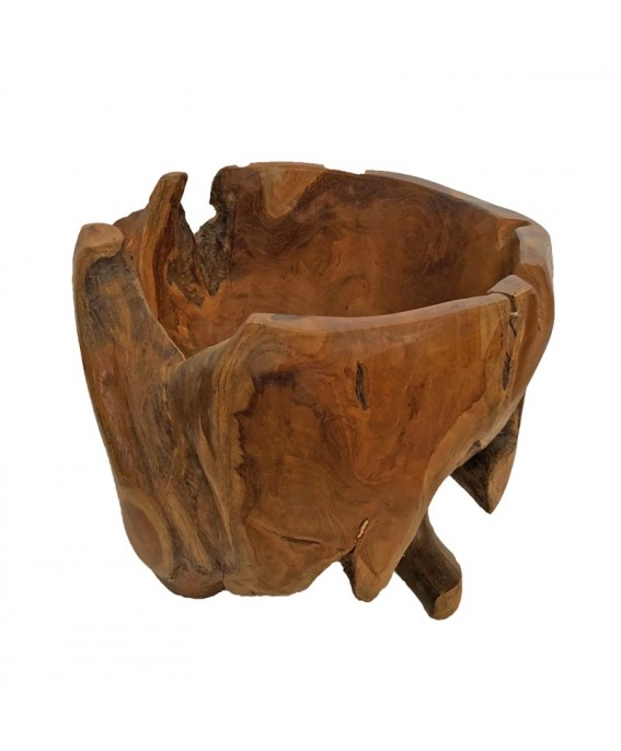 Basket for Table in Natural Teak Wood Root
