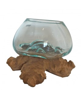 Blown Glass Aquarium on Teak Base