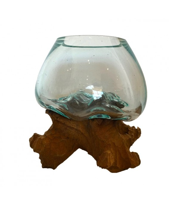 Blown Glass Aquarium and Carved Pedestal