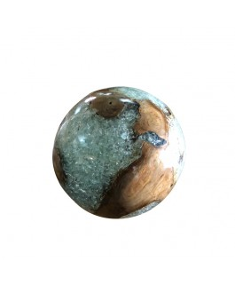 Real Solid Teak Ball and Natural White Resin Finish.