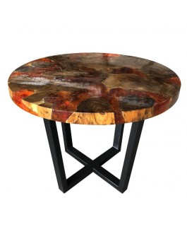 Round Coffee Table in Teak and Orange Resin