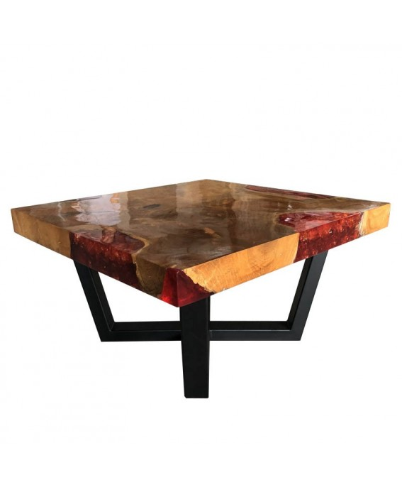 Square Coffee Table in Teak and Orange Resin