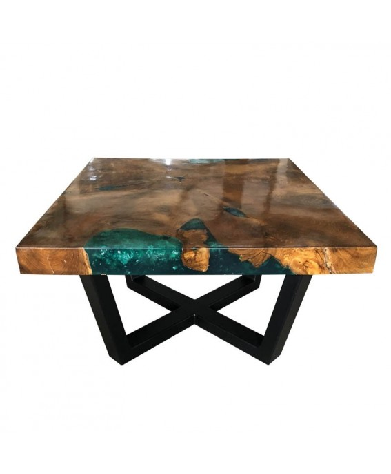 64643eabf9d80 Coffee Table  Teak Wood and Turquoise Resin Coffee Table