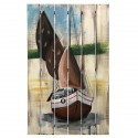 Rustic Painting On wood of a Sailboat