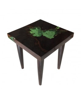 Square Coffee Table in Black Teak and Green Resin