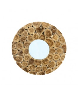 White and Natural Round Mirror in Teak Wood