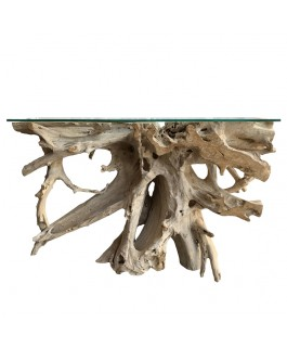 Console in Whitened Teak Root with Glass