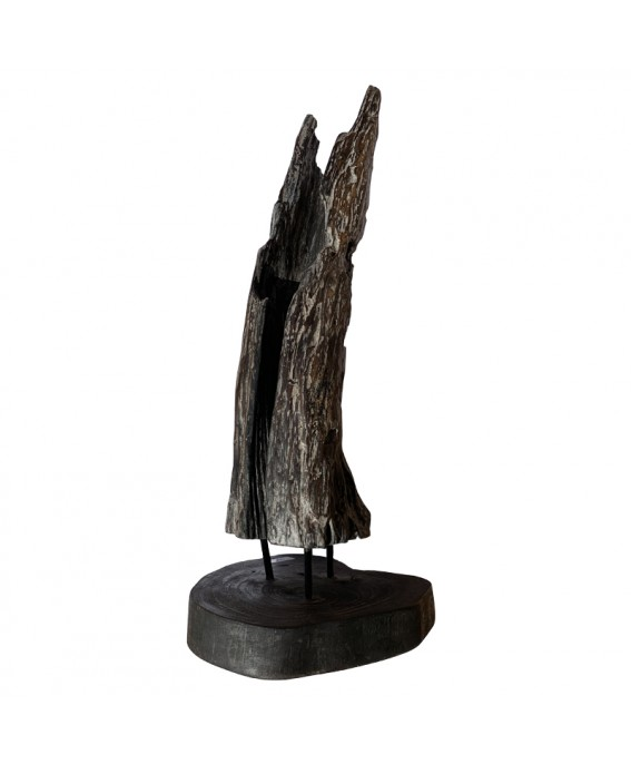 Sculpture en Teck Massif Naturel Finition Noir