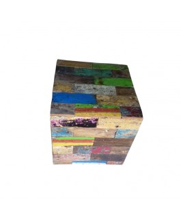 Recycled Wood Decorative Pouf