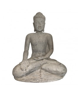 Statue of Buddha Carved in Lava Stone