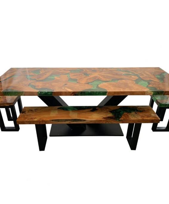Table Set in Teak Wood and Green Resin