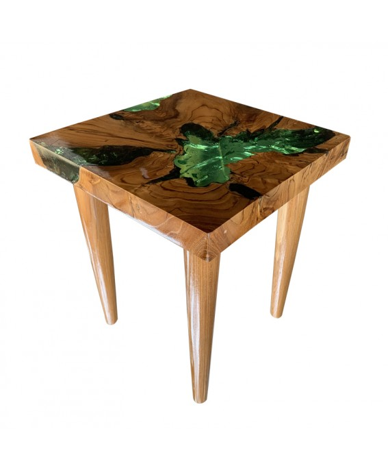 Square Coffee Table in Teak and Green Resin