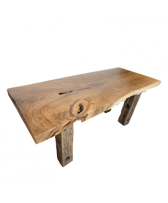 Table Suar Streight Massif Natural and Teak Wood Feet