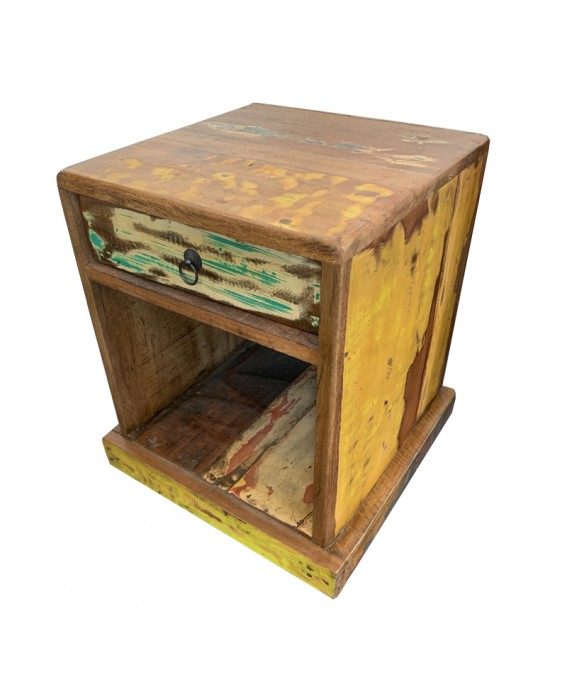 Recycled Pirogue Wood Bedside Table