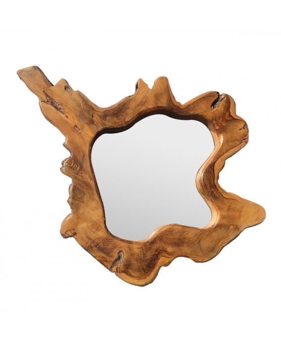 Irregular Teak Wood Mirror Natural