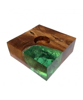 Square Candlestick in Teak Wood and Green Resin