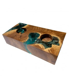 Rectangle Teak and Turquoise Resin Candlestick