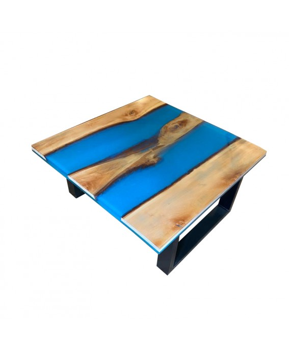 Coffee Table in Linden Wood and Blue Resin