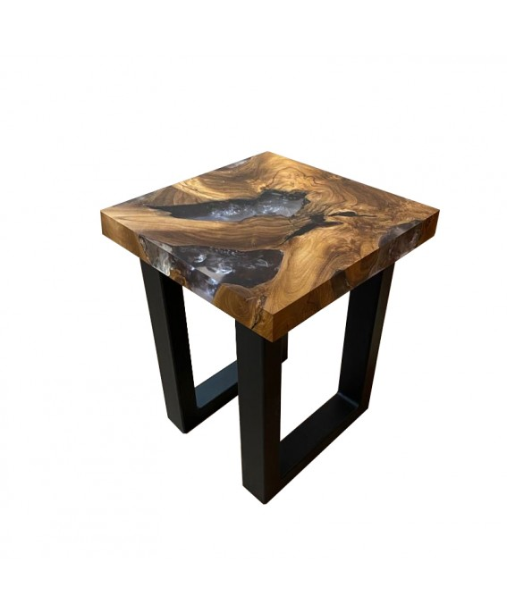 Stool in Teak Wood Transparent Resin and Metal Base
