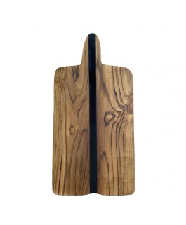 Suar Wood and Black Resin Tray