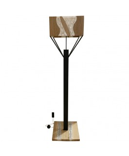 Design Lamp in Oak Wood and White Resin
