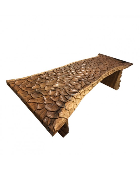 Luxury Exotic Wood Table Design Sculpted Scales