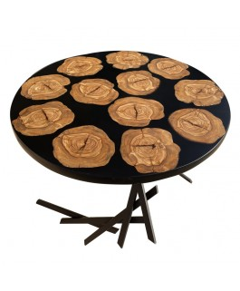 Round Coffee Table in Olive Wood and Black Resin