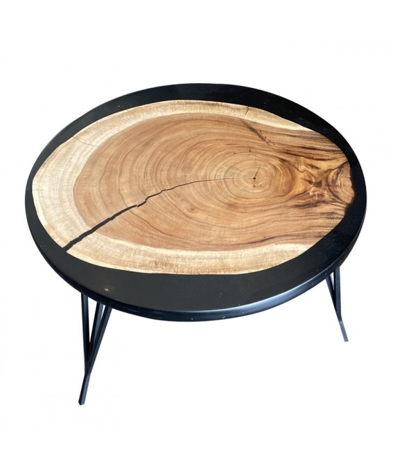 Round Coffee Table in Suar Wood and Black Resin