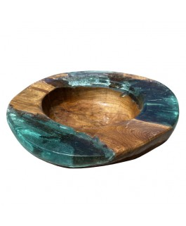 Decorative Bowl With Teck Wood and Turquoise Resin
