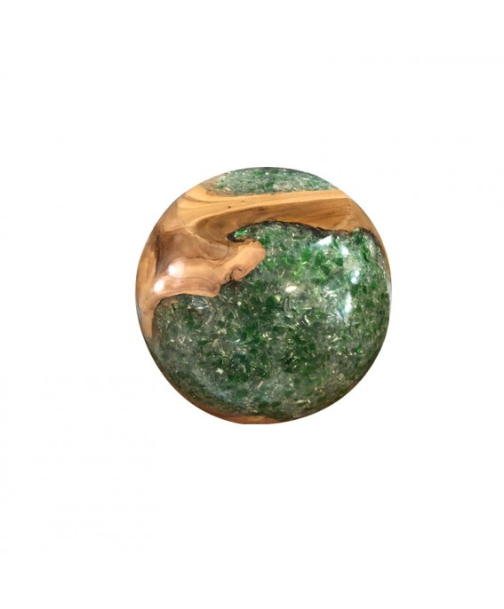 Ball in Teak Wood and Green Resin